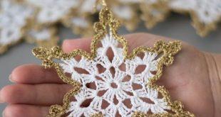 Gehäkelte Schneeflocken weiß Gold Dekor Weihnachtsbaum
