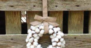 """Gracie Oaks Faux Cotton 10"""" Cotton Wreath"""