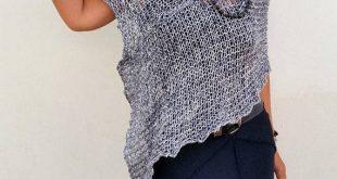 Graues Strick-Wickelkleid aus Baumwollponcho von EstherTg #baumwollponcho #esth...