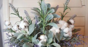 Lambs Ear Cotton Lavender Arrangement, Farmhouse Cotton Stems Lambs Ear, Rustic ...