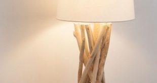 Lampe aus Treibholz mit Lampenschirm aus Baumwolle, H 55 cm