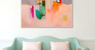 "Large Abstract painting print in coral pink grey green and white, abstract canvas art giclee print titled ""Awakenings #4"" by Sarina Diakos"