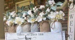 Mason jar centerpiece, farmhouse centerpiece, cotton decorations, cotton wreath, lambs ear decor, lambs ear wreath, lambs ear centerpiece