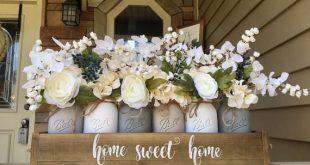Mason jar centerpiece, grey mason jar decor, rustic centerpiece, spring centerpiece, farmhouse decorations, mason jar farmhouse decor