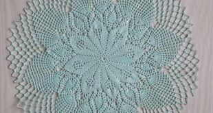 Mint round crochet doily, turquoise crochet lace, cotton green doily, lace crochet doily, large round cotton lace, green leaves doily