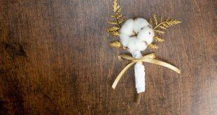 Natural organic raw cotton boll flower gold ferns rustic wedding BOUTONNIERE aut...