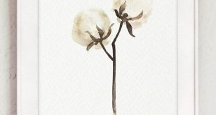 Organic Cotton Stems Gift for Her, Set 2 Cotton Bolls Art Prints Second Wedding Anniversary Brown Home Decor Cotton Ball Watercolor Painting
