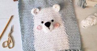 Polar bear nursery wall decor crochet pattern, diy baby room wall hanging, digital download