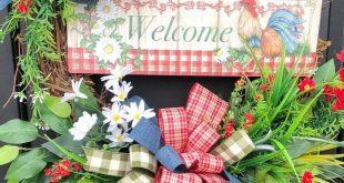 Rooster Wreath- Farmhouse Wreath-Rooster Front Door Wreath- Farmhouse Cotton Wre...
