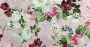 Ruru Bouquet Suzonne Floral Rose Bouquet Light Pink Cotton Quilting Fabric 1/2 Y...