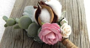 Rustic Boutonniere, Pink and White Flowers, Cotton Ball, Sage Green Greenery, Lamb's Ear, Eucalyptus, Choose Your Flower Color Groomsmen