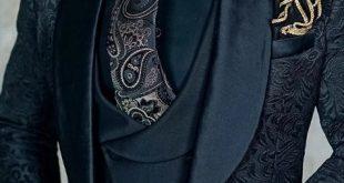 S by Sebastian Black Paisley Dinner Jacket