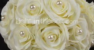 Satin / Cotton With Pearl Round Shape Wedding Bouquet USD $24.99 2019 Satin /...