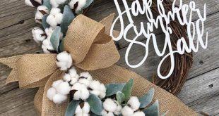 Spring Wreath Lambs Ear Wreath Cotton Wreath Fixer Upper 2019 Spring Wreath La...