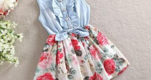 Spring/Summer Baby Girls Sleeveless Dress with Denim Top and Floral Print Bottom 2-9T