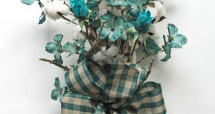 Teal Cotton Bouquet Natural Cotton Bolls 2nd Anniversary Gift Teal Roses Cotton ...