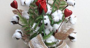 Valentine's Day Bouquet, Cotton Bolls, 2nd Anniversary Gift, Cotton Anniversary Bouquets, Red Roses, Wedding Deco, Red Valentine's Day Gifts