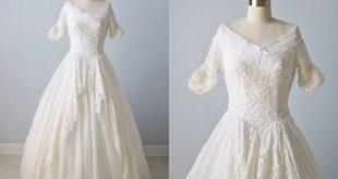 Vintage Wedding Dress 1950s Cotton Organdy Embroidered