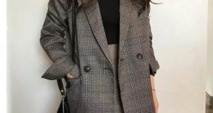 Women's check long sleeve cotton jacket coat plaid blazer Best Seller!