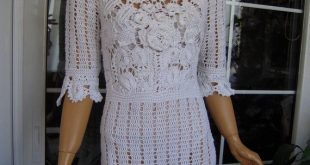 cotton wedding dress handmade crochet cotton romantic lace dress with flowers gift idea for her OOAK by golden yarn